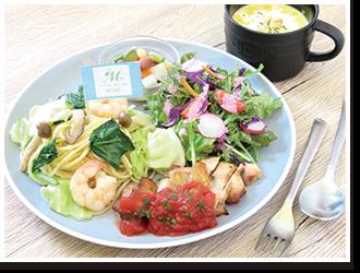 野菜たっぷりパスタと季節のポタージュランチ