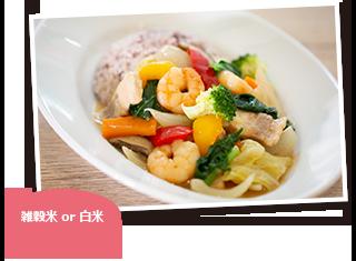 エビと野菜の中華風あんかけご飯